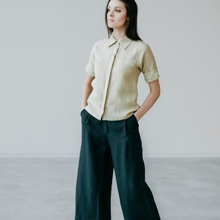 Wide Cut Linen Pants Motumo 15K1