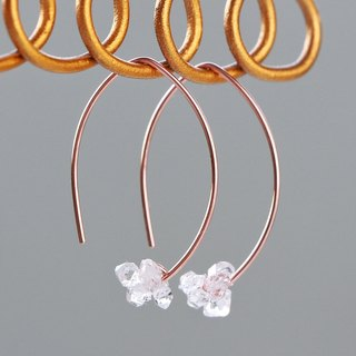 14 kgf Rose gold - Herkimer diamond mini marquise pierced earrings