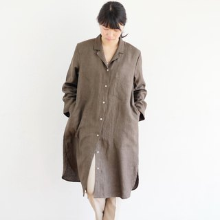 Ethical Hemp Open Collar Shirts One-piece Ebony Dyed Brown Size M