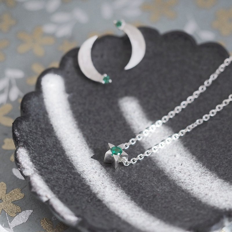 2 co set) emerald star & crescent necklace earrings set silver 925