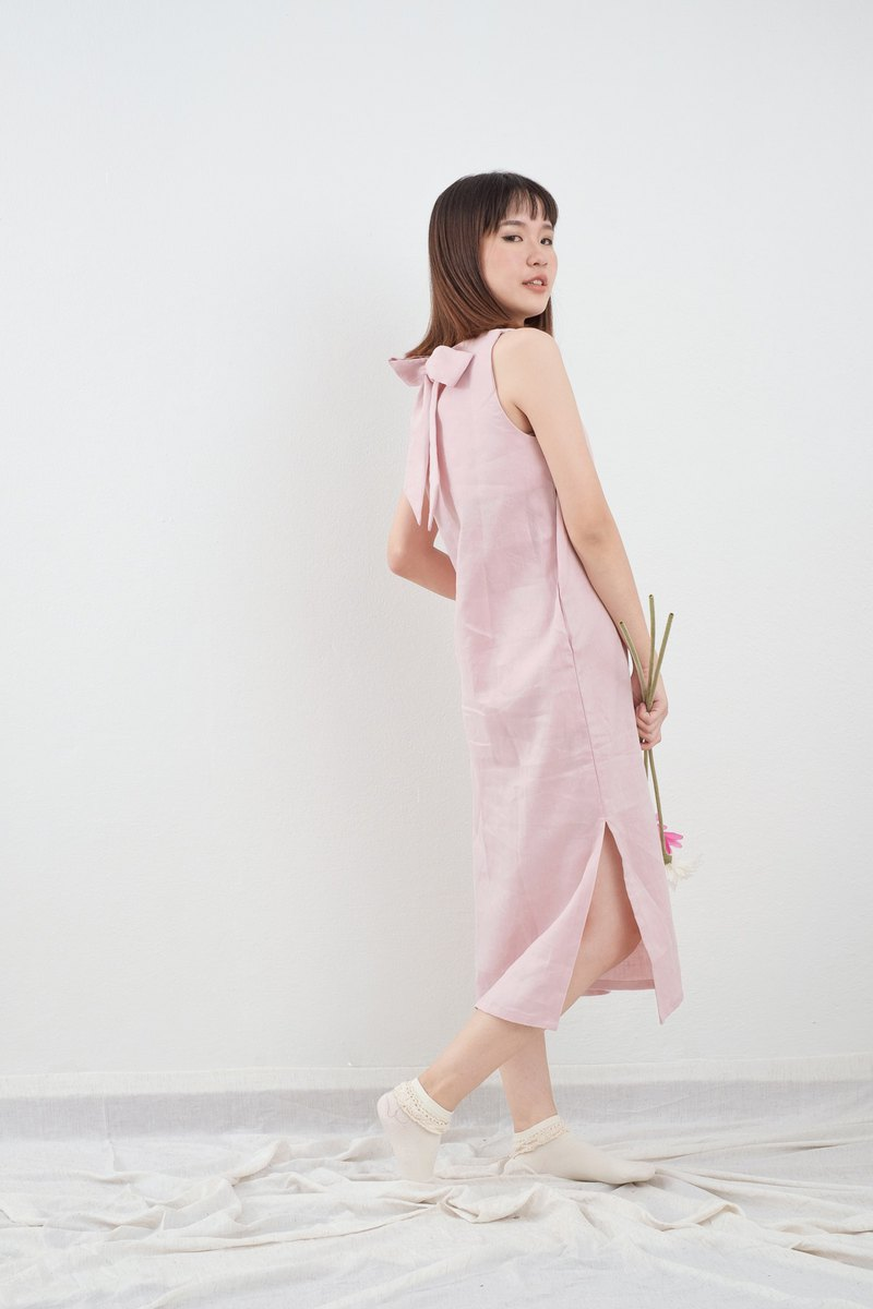 Milky Pink Big Bow Linen Dress