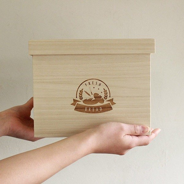 Bread box FRESH BREAD 1.5 loaf Fashionable Storage box made in Japan wooden