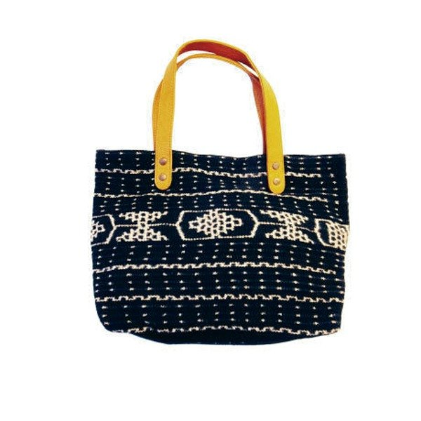 Lamb leather ikat bag Black
