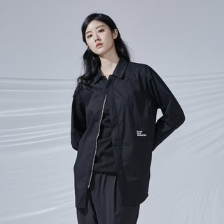 DYCTEAM - BLACK simple shirt 拉链长版衬衫