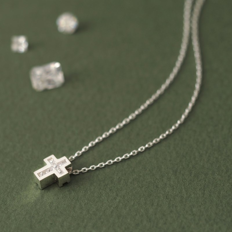 Cube stone cross necklace Silver 925