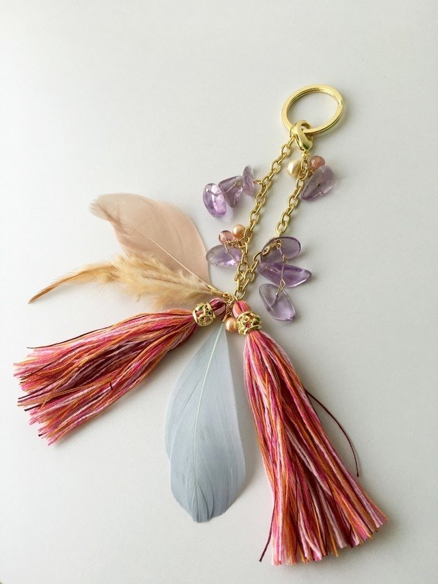 Bag Charm Amethyst Pink Orange Tassel