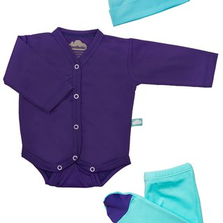 SanBelle 3 Pieces Set★Anti-bacteria★Preemie Size Purple×Calypso