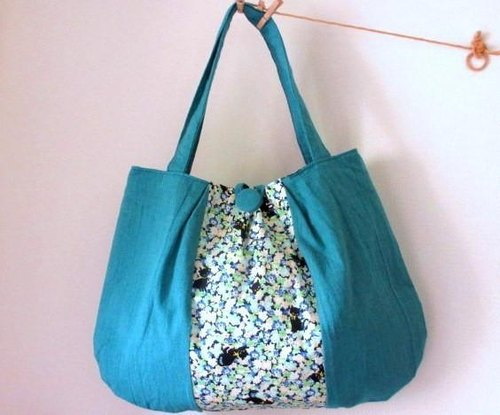 Half linen cat and fluffy soft shoulder bag * Sky blue A