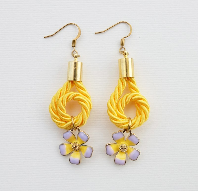 Yellow knotted rope and flower charms earrings