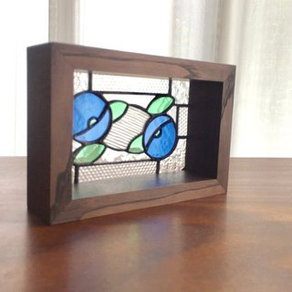 Stained glass panel Camélia demi Blue