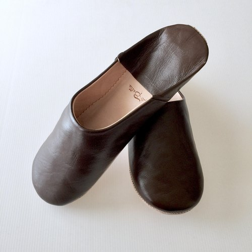 Babouche / Slipper / 拖鞋 / beautiful handmade babush / men's Dark Brown