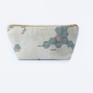 纯棉化妆包/杂物包 Canvas Large Zipper Pouch - Minimal Hexagon Lines