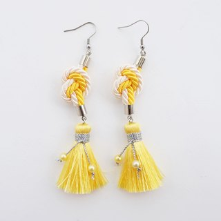 Cream & Yellow heart knotted rope with tassel earrings
