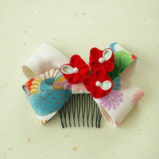 """Resale"" Kimono's hair ornament Using old cloth [Ribbon · White]"