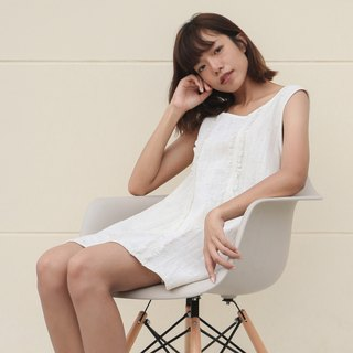 Ivory Cotton Dress / Non-chemical cotton / Hand Woven