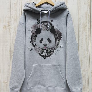 ronronPANDA BIG HOODIE Flower Frame (Heather Gray) / RBP 006 - GR