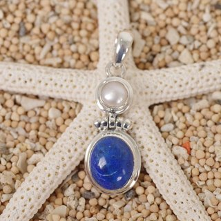 Dark blue lapis lazuli and freshwater pearl pendant top