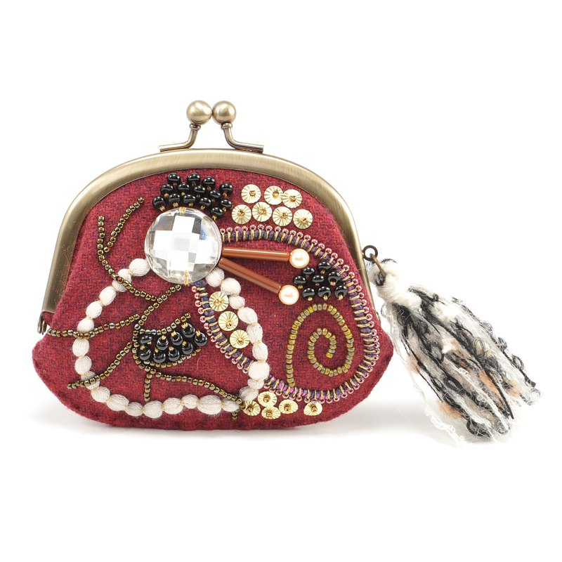 wide opening tiny purse, coin purse, pill case, gorgeous red purse, No,4