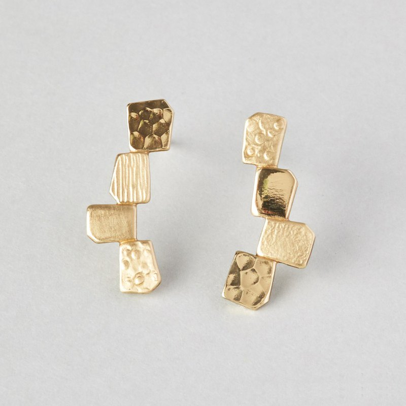 Four textures Brass Earrings