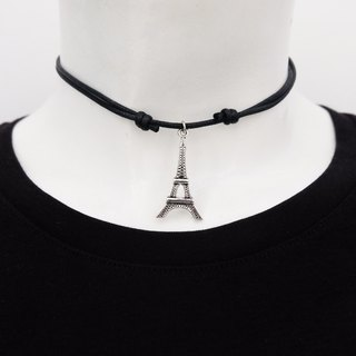Eiffel adjustable knot cord choker / necklace in black , waxed cotton cord