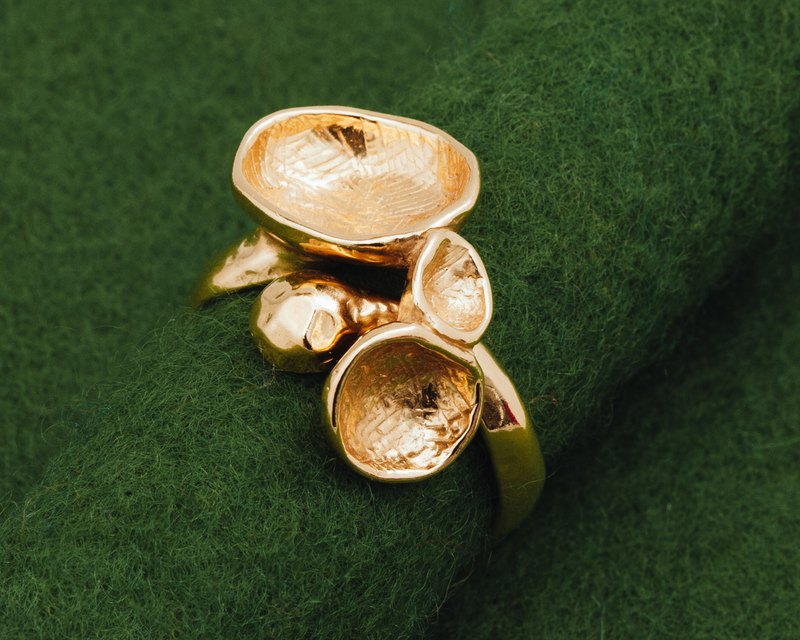Gold bubble ring - Japanese natural design - Three dimensional - free shipping