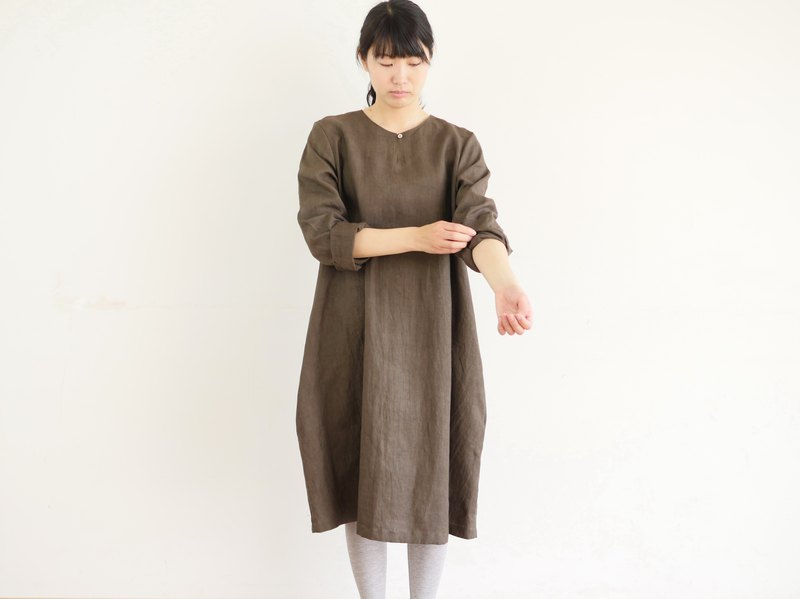 Ethical Hemp Tunic Dress Ebony Dyed Brown Size M