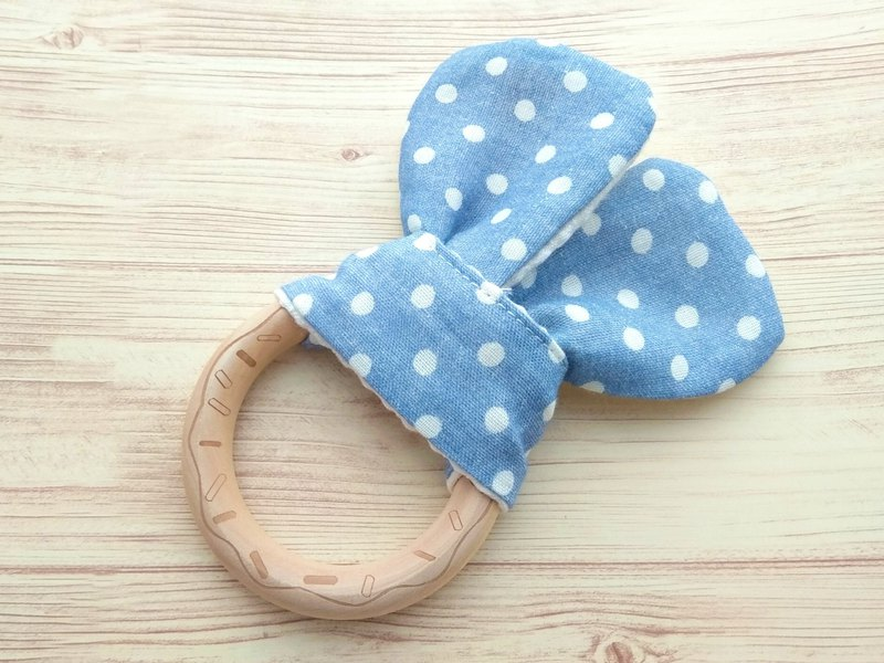 Wooden Teething Ring, Engraving Cookie, Japanese Double Gauze, Polka Dots, Blue