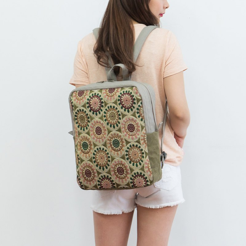 Handmade female floral backpack