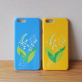 Plastic android phone case - Lily of the valley and Cat -