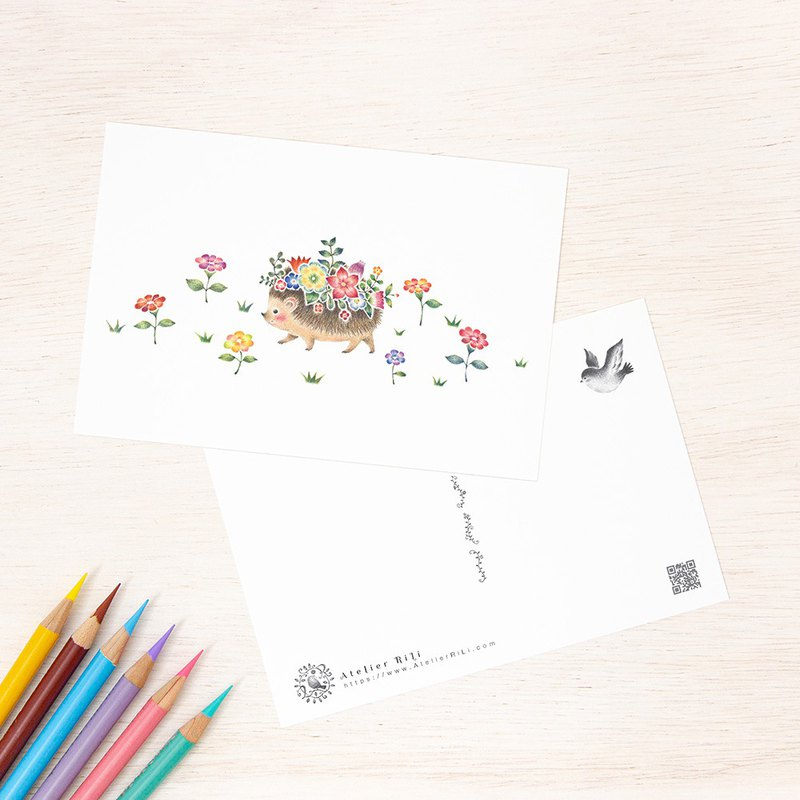 "Set of 5 sheets. Like a picture book. Postcard ""Mari of flowers in a mouse"" PC-253"