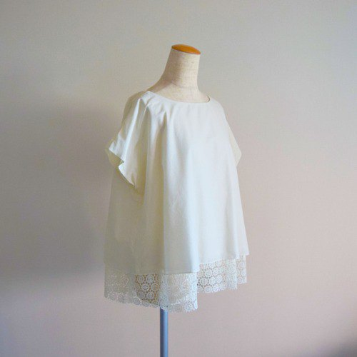 Soft Cotton Lawn Lace French Sleeve A-Line Blouse Cream Made to Order