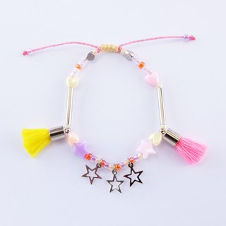 String bracelet with neon pink/yellow tassel and star