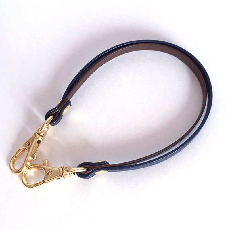 "Two-tone color Leather strap (Brown and Navy) width:6mm ""Clasps : Gold"""