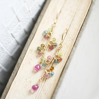 Original tourmaline and pink sapphire flower branch earrings earrings accepted September / October birthstone