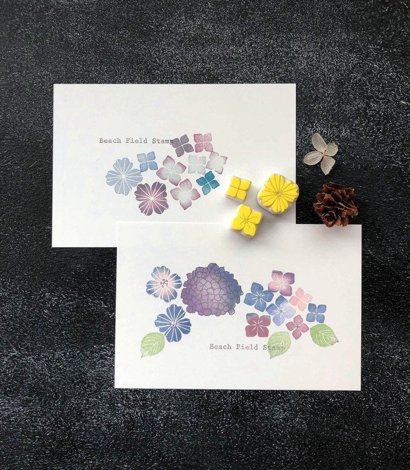 Hydrangea flower 3 points with 2 cards
