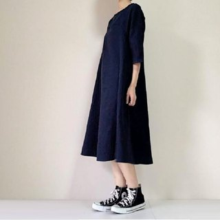 Double gauze simple plain flare one piece dress dark navy queen sleeve