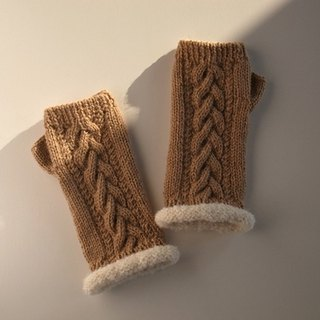 Alpaca wool knitted Alan pattern fingerless mitten and camel Made to order production