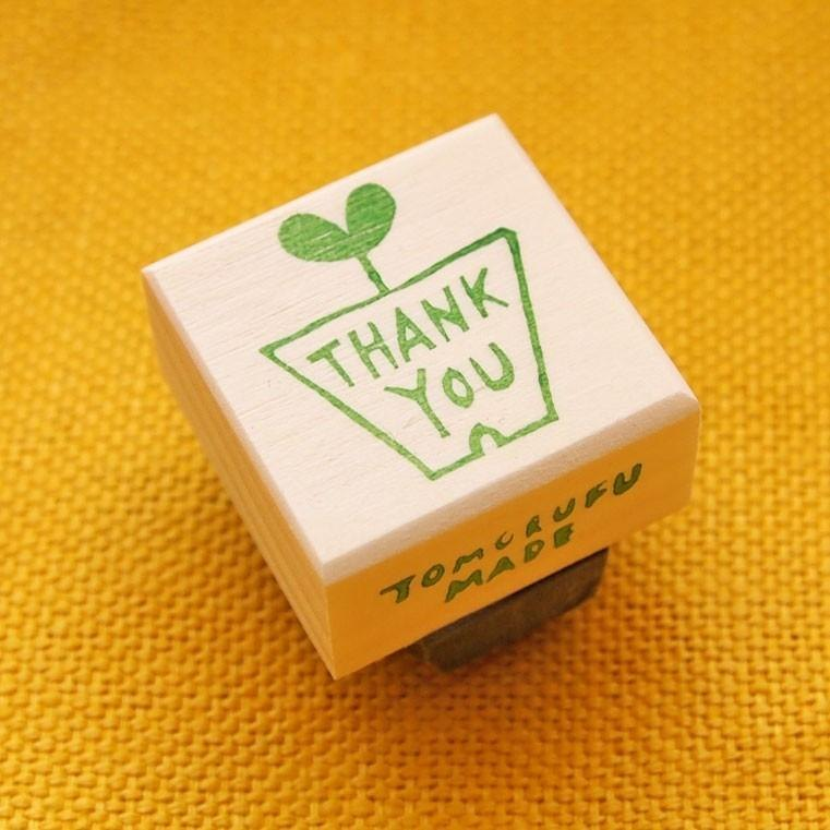 "stamp made of eraser rubber ""flower pot with thank you message"""