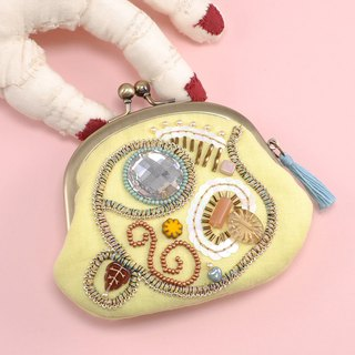 A wide opening tiny purse, coin purse, pill case, gorgeous yellow pouch, No,14