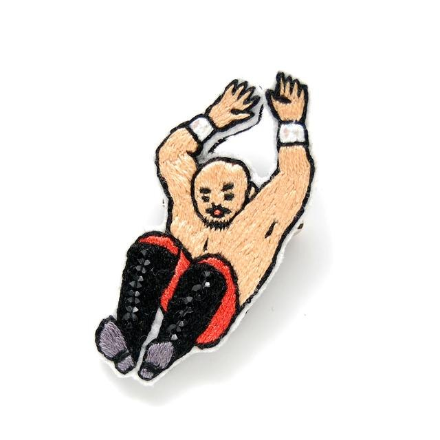 Orders production jumping wrestler embroidery brooch
