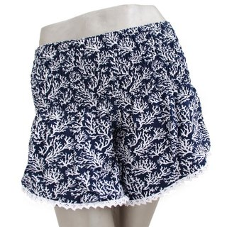 Summer Girl! Coral print shorts <navy>