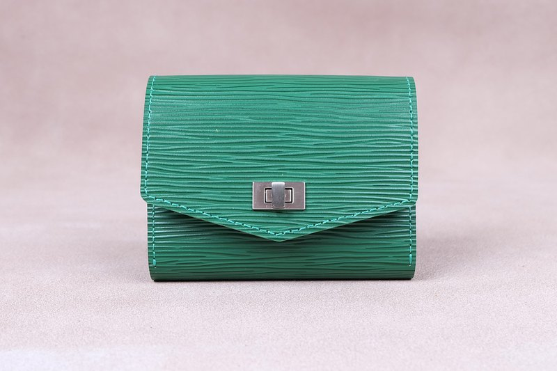Card Case / Zipper Wallet / Coin Wallet / Italy Cow Leather(Green)