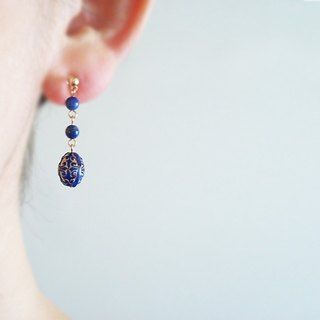Lapis Lazuli, antique style clip on earrings 夾式耳環