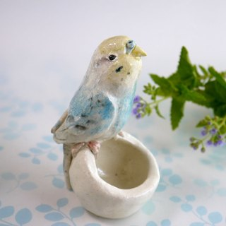 Light blue sea cucumber parakeet (small bird pottery ornament)