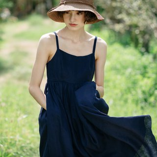 Camisole Linen Dress with Back Shell Button in Navy