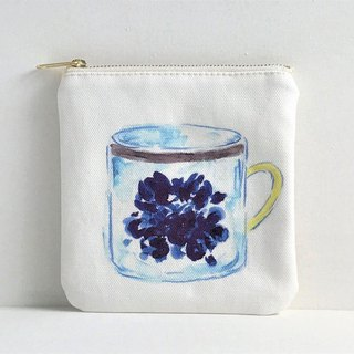 Gardeners' Tea Party Square Flat Pouch Mug Cup Pattern Blue