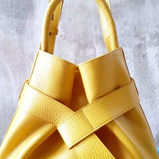 KANGAROO (Yellow) Leather Bucket Bag