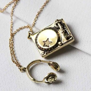 Turntable set Necklace / Golden Turntable Charm / Music Toy Necklace / Linen Jewelry /.