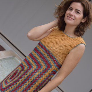 Handmade organic wool dress. Fun and colorful crochet dress with vintage style