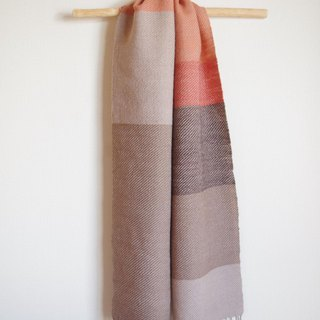 Dusk in the winter Big Shima Wool Scarves Walnut, Yashabushi, Foam, Akanei Plant Dyeing Hand Weaving